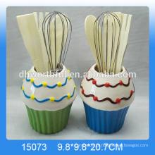 Fábrica de venda directa de utensílios de cerâmica titular conjunto com forma de sorvete