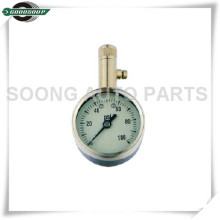 Brass Stem Dial Type Tire Pressure Gauge with air release valve