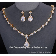 Fashion bella jewelry russian gold jewelry set gold plated charm necklace & earrings