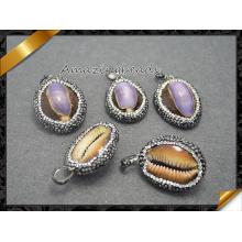Colgante natural del caracol / del caracol de mar, Rhinestone cristalino pavimentó la joyería pendiente de los granos que hacía (EF0102)