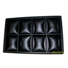 Роскошный штабелер Faux Black Leather Watch Baracelet Tray Organizer