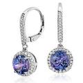 Синий круглый CZ 925 Silver Dangle Earring Jewellery