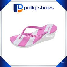 Womens Pink White Wedge Sandale Flip Flop Sz 9