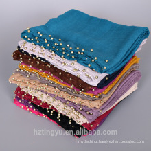 Soild Color Fashion Scarf Hijab Wholesale Beaded Muslim Women Hijab Scarves with Pearl