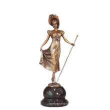 Weibliche Kunstsammlung Bronze Skulptur Zepter Lady Decor Messing Statue TPE-691