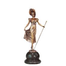 Женская Коллекция искусства бронзовая скульптура скипетр Леди Декор Латунь статуя ТПЭ-691