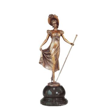 Coleção de Arte feminina Bronze Escultura Cetro Senhora Decor Estátua de Bronze TPE-691