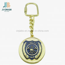 Antique Gold Emboss Panit Enamel Metal Gold Keychain for Promotional
