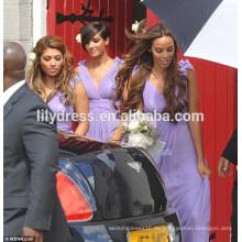Lila V-Ausschnitt Chiffon gefaltet Boden Länge nach Maß Brautjungfer Kleid für Hochzeitsfest BMC014 Porzellan Brautjungfer Kleider