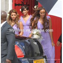 Purple V Neck Chiffon Comprimento de piso plissado Custom Made vestido de dama de honra para banquete de casamento BMC014 vestidos de dama de honra da China