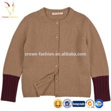 Длинные рукава дети Кашемировый свитер с кнопки
