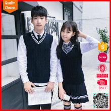 Tejido estilo coreano de escuela secundaria uniformes foto fabricantes