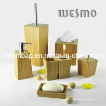Trapezoid Bamboo Bathroom Accessory Set (WBB0621A)
