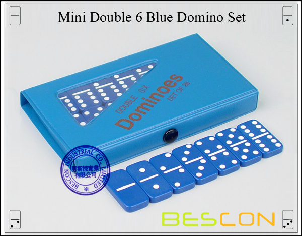 Mini Double 6 Blue Domino Set