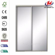 72 in. x 81 in. Silhouette Mystique Glass Satin Clear Finish Aluminum Interior Sliding Door