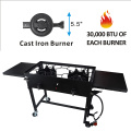Auto ignition double burner with wheels
