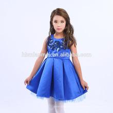 2017 marca caliente color rojo azul niñas princesa vestido verano estilo 8 años niña vestido diseño