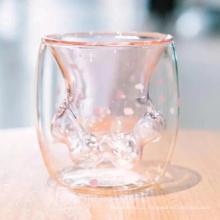 Fábrica personalizado atacado copo de vidro duplo gato