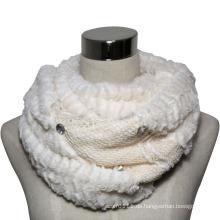 Lady Fashion Polyester Samt Spitze gestrickt Infinity Schal (YKY4370)