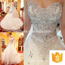 Vestido de novia caro 2017 Vestido de novia de encaje Vestido de novia brillante de perlas pesadas de tren largo