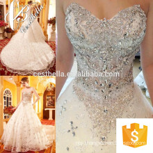 Expensive Bridal Gown 2017 Lace Wedding Dress Long Train Shining Beads Heavy Pearls Bridal Gown