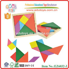 Wooden colorful tangram for kids CE wooden toys