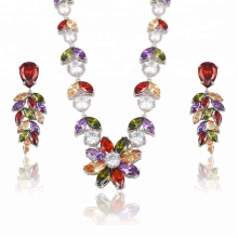 S-21  New Rhinestone Jewelry african rhodium plated necklace wedding jewelry sets