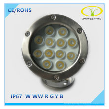 12W LED de acero inoxidable encontrado luz para fuente