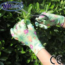 NMSAFETY nitrilo revestido luva de trabalho de jardinagem mão de senhoras floral