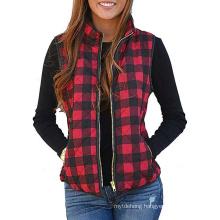 Womens Open Front Block Lapel Sleeveless Plaid Pockets Vest Cardigan