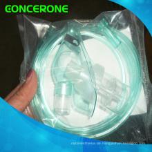 Zerstäubermaske mit Kammer und Schlauch, Sauerstoffmaske mit Tubus
