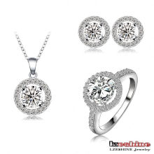 Rhodium Plated Necklace Earrings Ring Jewelry Sets (CST0021-B)