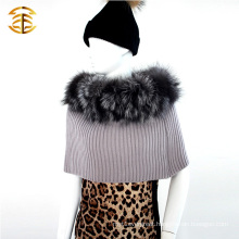 Hot-selling Professional Knitted Fur Ponchos Shawls With Silver Fox Fur Collar