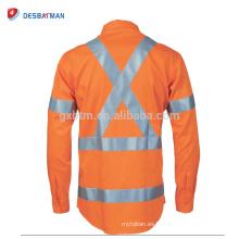 Camiseta de polo de seguridad de manga larga naranja completa Seguridad reflectante uso diurno / nocturno Ropa de trabajo de carretera