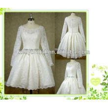 Vestido de noiva lindo com joelho e joelho com manga comprida e zíper para trás