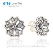 925 Sterling Silver Flower Stud Earrings Austrian Crystal Jewelry For Women