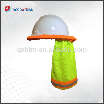 Safety hard hat neck shade helmet sun shade hi vis reflective stripe