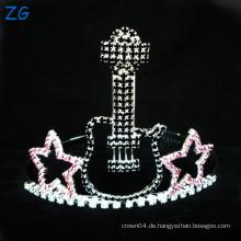 Art und Weise farbiger Rhinestone scherzt Metalltiaras, kleine Gitarren-Tiara für Kinder, Rockstar-Tiara-Krone
