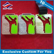 Cinta de seda de alta gama de diseño de recorte de esmalte Taekwondo Medallas