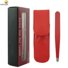 Slanted tweezers in PU case and window box, red.