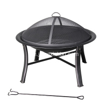 Deco 30-in W Black Steel Wood-Burning Fire Pit