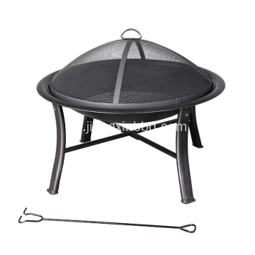 Deco 30-W W Black Steel Wood Burning Fire Pit