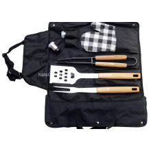 BBQ tools with apron and salt shaker set
