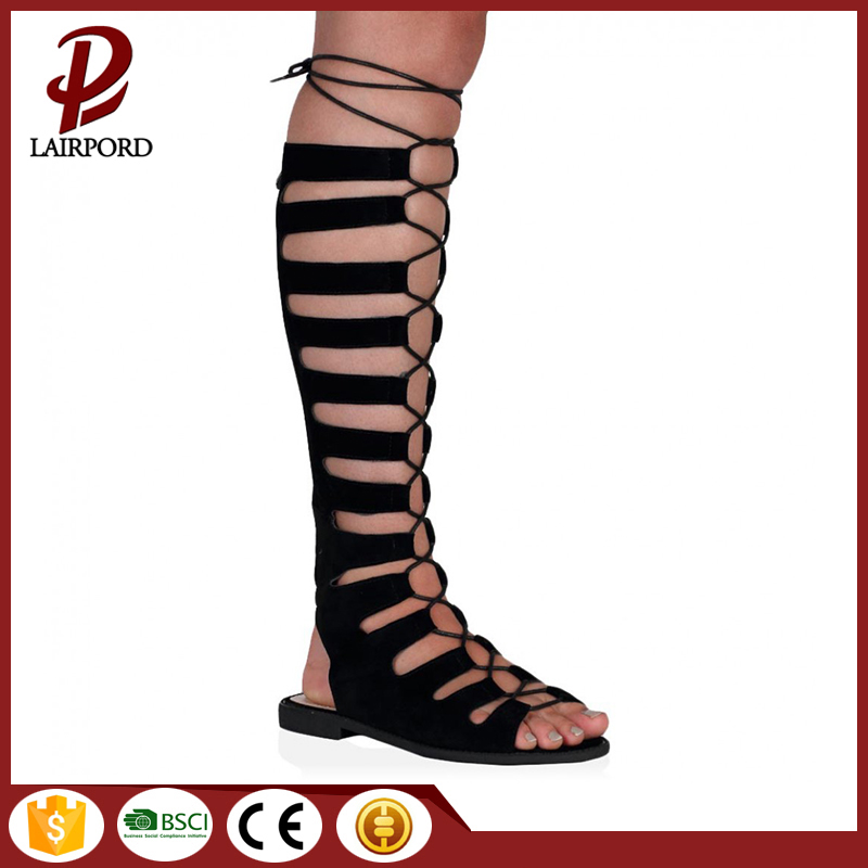 Lace-up knee Suede Lace long Sandals