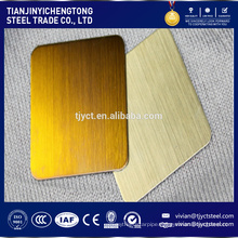 Brushed finish Gold champagne color stainless steel sheet