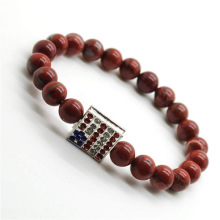 Pulsera de Piedras Preciosas Red Jasper 8MM con Diamante USA Flag Piece