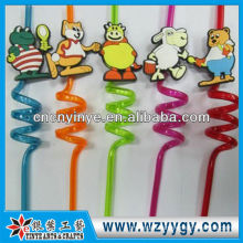 3D pvc straw for drinking topper charm doll