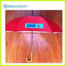 Paraguas de la manija de madera de la promoción de publicidad modificada para requisitos particulares