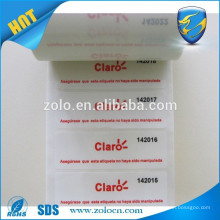Anti peel warranty security void carton seal labels