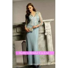 Hellblau glänzendes Brautkleid für Mutter